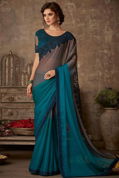 Teal and Grey Designer Silk Saree