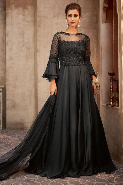 Beautiful Black Silk Georgette Evening Gown with Net Dupatta