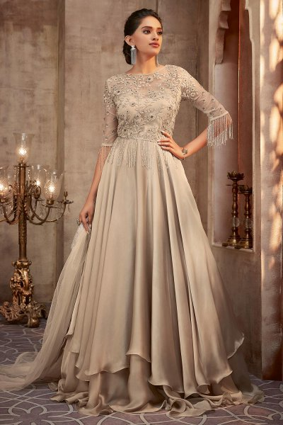 Beautiful Beige Silk Georgette Evening Gown with Net Dupatta