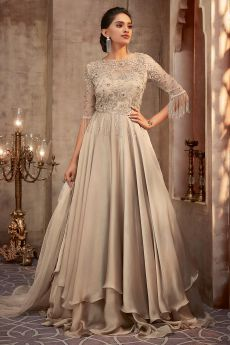Beautiful Beige Silk Georgette Evening Gown with Net Dupatta