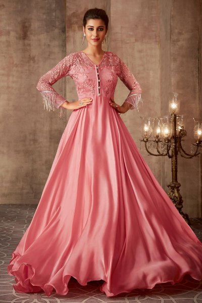 Beautiful Baby Pink Silk Georgette Evening Gown with Net Dupatta