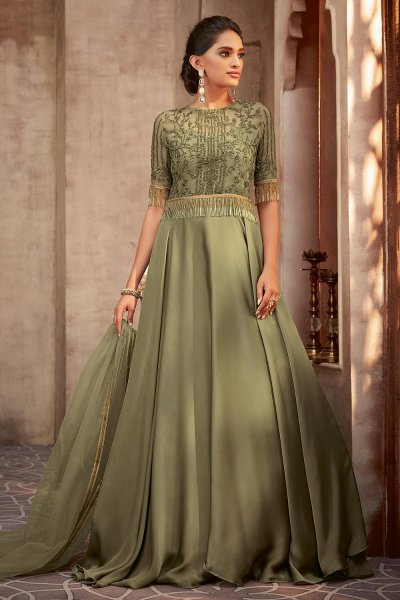 Beautiful Green Silk Georgette Evening Gown with Net Dupatta