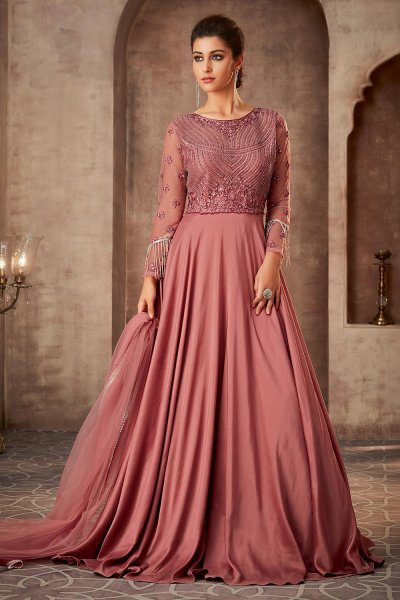 Beautiful Pink Silk Georgette Evening Gown with Net Dupatta