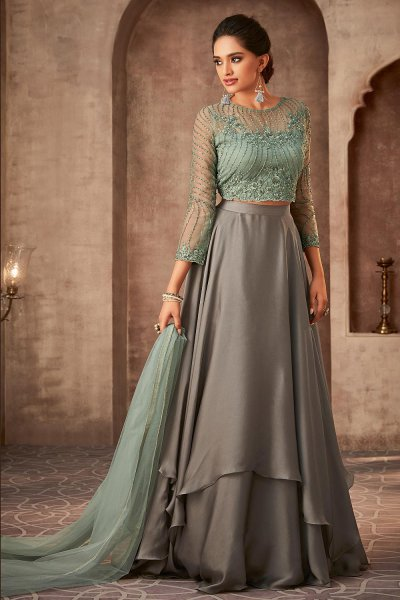 Designer Grey and Green Silk Georgette Lehenga with Net Dupatta