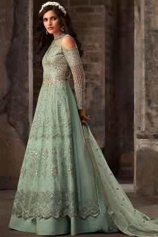 Powder Green Embroidered Salwar Suit/Anarkali Suit with Lehenga