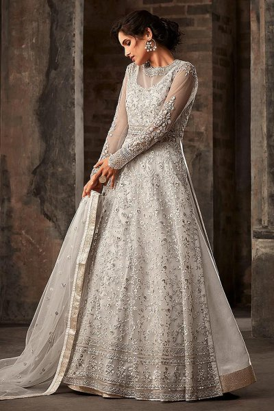 Silver Embroidered Salwar Suit/Anarkali Suit with Lehenga