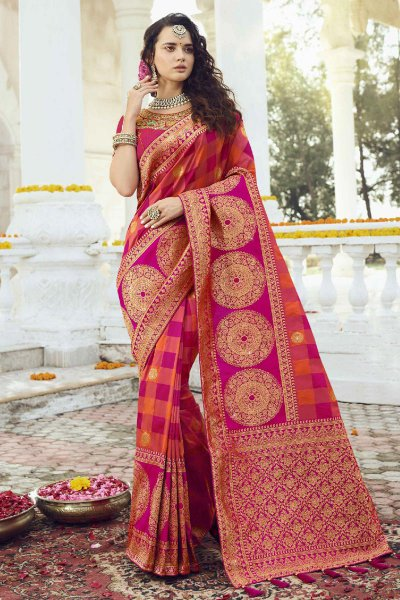 Stunning Banarasi Silk Saree with Zari Embroidered Blouse