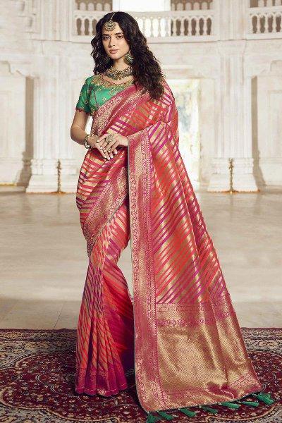 Golden Striped Banarasi Silk Saree