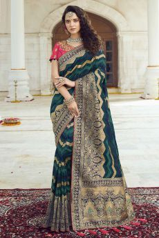 Chevron Weaved Banarasi Silk Saree