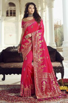 Pink Banarasi Silk Saree with Zari Embroidered Blouse