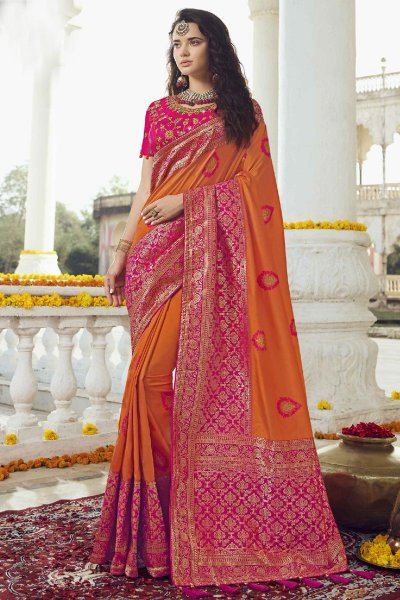Orange and Pink Banarasi Silk Saree