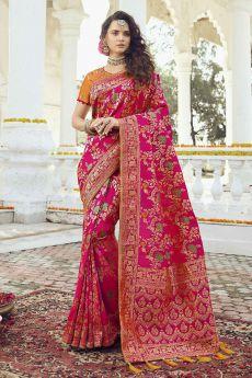 Intricate Designed Magenta Banarasi Saree
