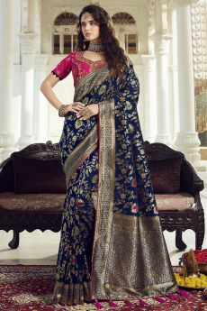 Intricate Designed Navy Blue Banarasi Saree