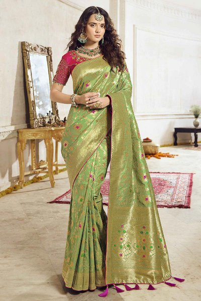 Intricate Designed Lemon Green Banarasi Saree