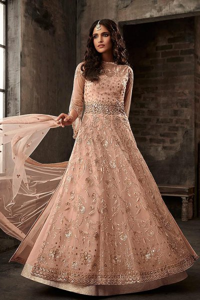 Peach Embroidered Salwar Suit/Anarkali Suit with Lehenga