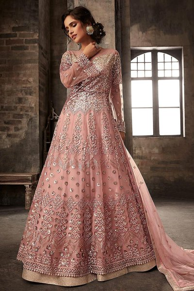 Pink Embroidered Salwar Suit/Anarkali Suit with Lehenga