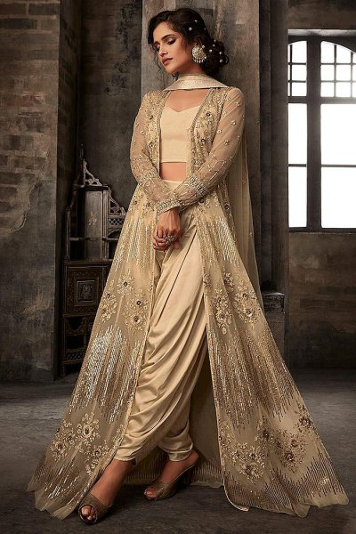 Beige Embroidered Anarkali Suit with Lehenga/ Dhoti Pants