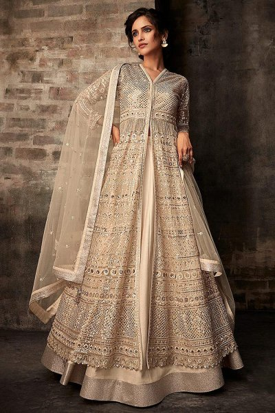 Ecru Embroidered Anarkali Suit with Lehenga/ Dhoti Pants