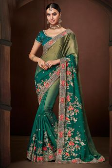 Designer Satin Georgette Saree in Green