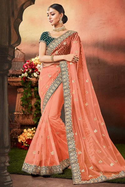Peach Net Saree with Zari Embroidered Velvet Blouse