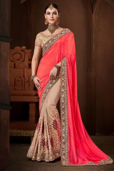 Beige and Pink Saree in Silk with Velvet Border
