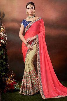Pink and Beige Zari Embroidered Silk Saree