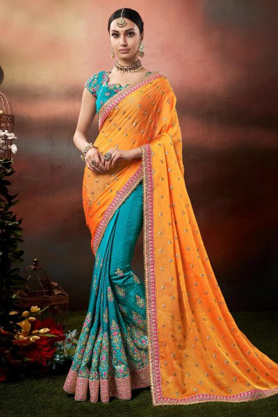Turquoise and Orange Zari Embroidered Silk Saree