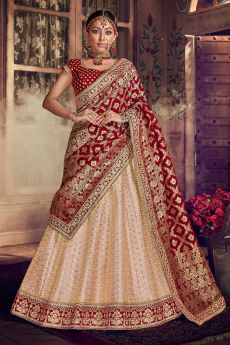 Jacquard Silk Lehenga with Velvet Blouse
