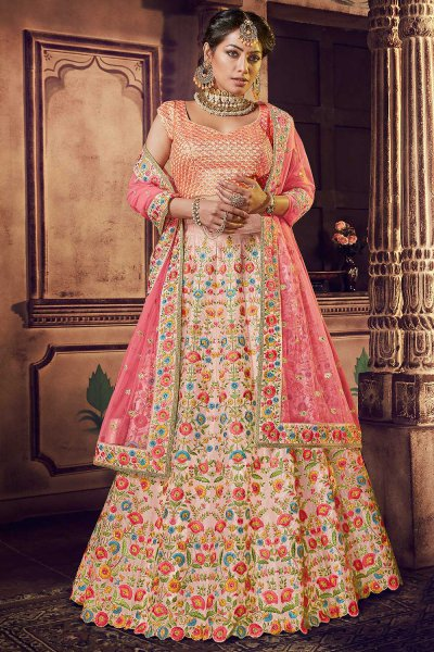 Stunning Pink Lehenga in Silk with Sequin Blouse