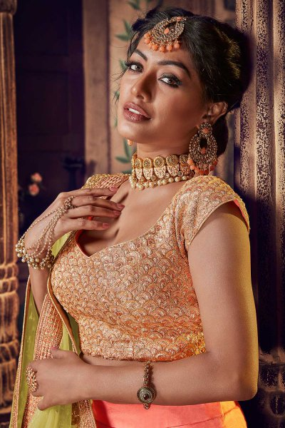 Graceful Peach Lehenga in Net with Sequin Blouse