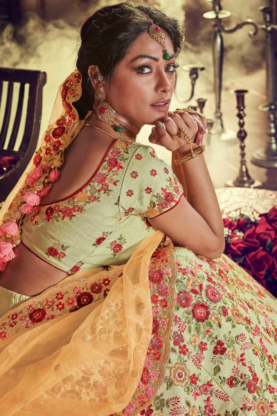 Heavy Embroidered Lehenga in Silk with Net Dupatta