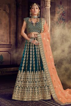 Bottle Green Velvet Wedding Lehenga Choli with Heavy Embroidery