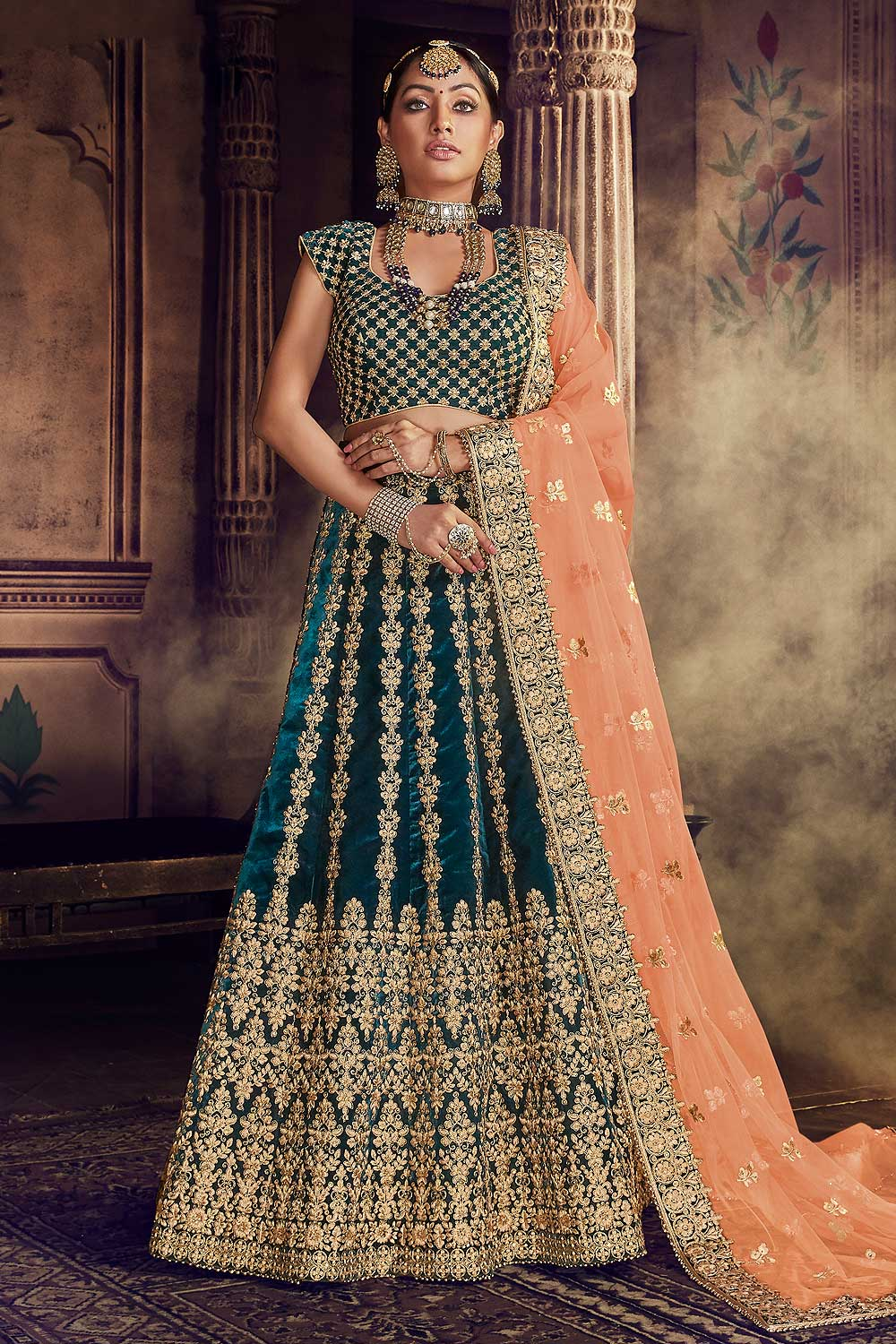Buy Bottle Green Velvet Wedding Lehenga Choli With Heavy Embroidery Online Like A Diva