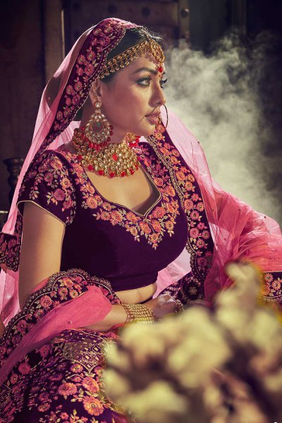 Designer Velvet Wedding Lehenga Choli with Heavy Embroidery