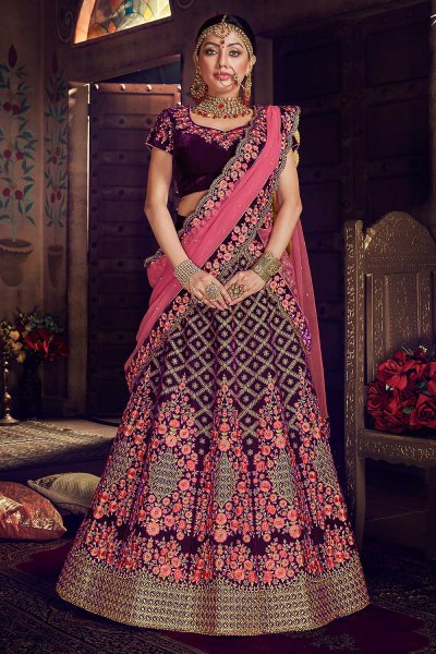 Designer Velvet Wedding Lehenga Choli with Heavy Embroidery