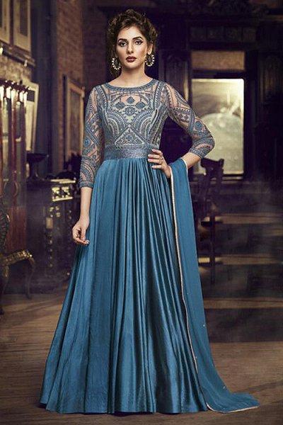 Elegant Teal Embroidered Silk Anarkali Gown