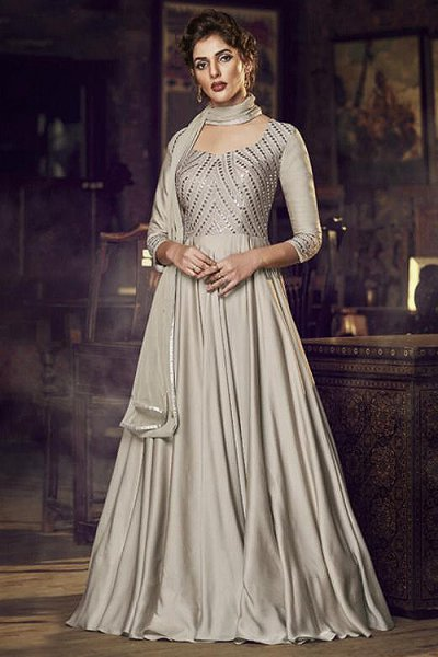 Elegant Taupe Embroidered Silk Anarkali Gown