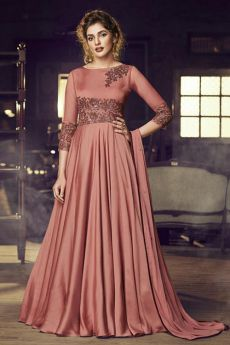 Elegant Carmine Red Embroidered Silk Anarkali Gown