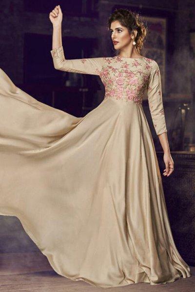 Ready to Wear Elegant Beige Embroidered Silk Anarkali Gown