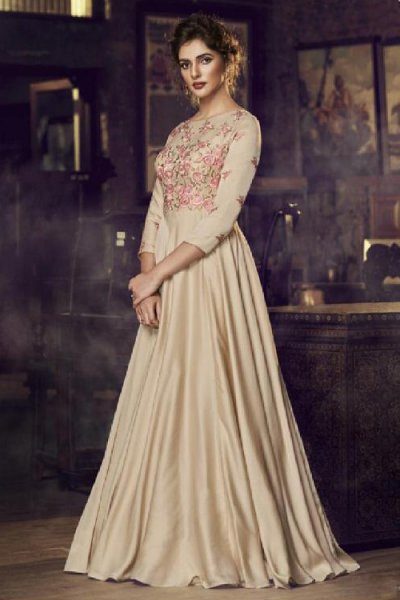 Elegant Beige Embroidered Silk Anarkali Gown