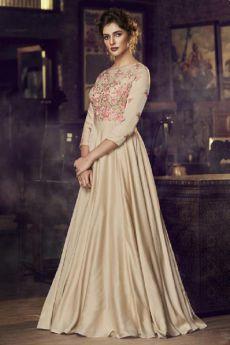 Elegant Beige Embroidered Silk Anarkali Gown