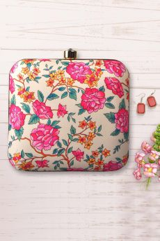 Beige Floral Printed Clutch