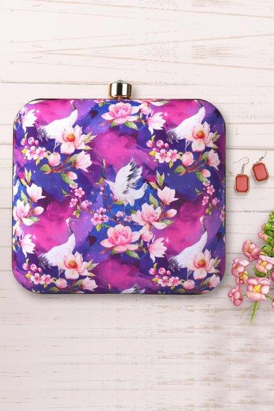 Lilac Printed Clutch