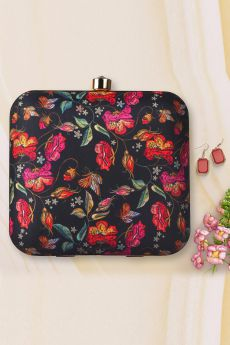 Multicolored Floral Printed Clutch