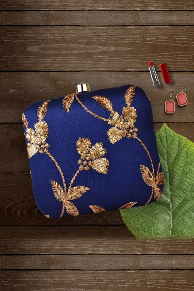 Royal Blue Sequin Hand Embroidered Clutch