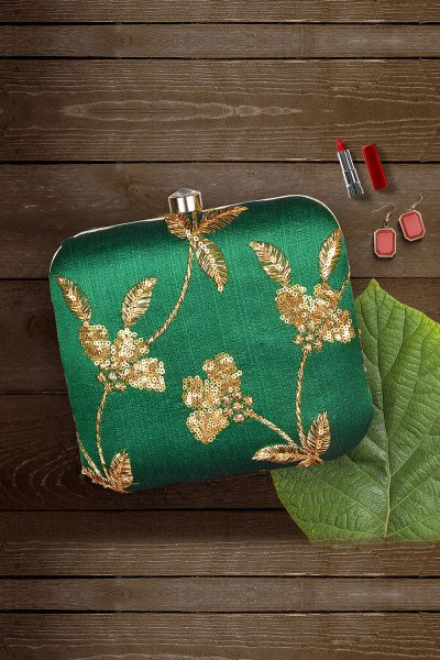 Green Sequin Hand Embroidered Clutch
