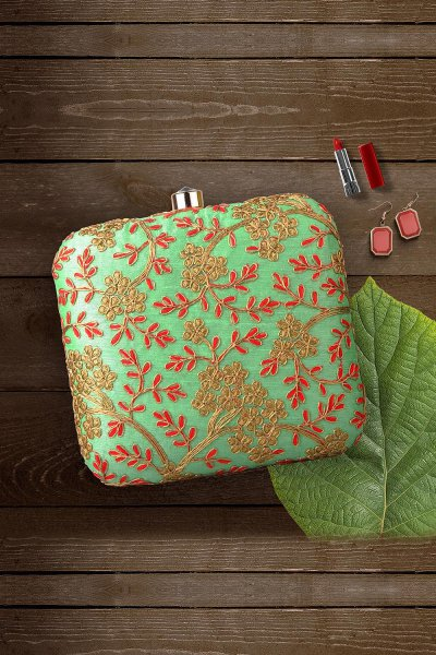 Pistachio & Red Hand Embroidered Clutch