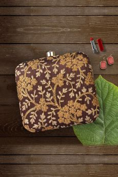 Coffee Brown Hand Embroidered Clutch