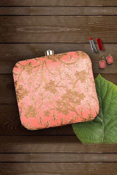 Peach & Brown Hand Embroidered Clutch