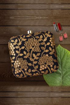 Black & Golden Hand Embroidered Clutch